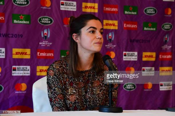 French tv journalist Cecile GRES during the press conference to announce the team for the forthcoming France v Tonga match - Rugby World Cup 2019- on...