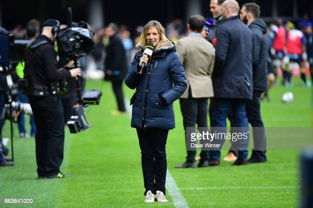 French tv journalist Clementine Sarlat during the European Champions Cup quarter final match between Clermont and Toulon at Stade Marcel Michelin on...