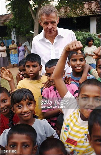 French Tv Journalist Patrick Poivre D'Arvor In Sri Lanka With The Red Cross On January 8 2004 In Colombo Sri Lanka At Subodoram Temple Near Colombo