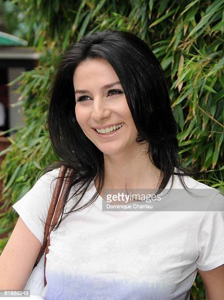 French TV personality Marie Drucker attends French Open 2008 at Roland Garros on June 7 2008 Paris france