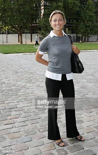 French tv presenter AnneSophie Lapix attends the Canal Press Conference to Announce TV Schedule for 2008/09 at Cinematheque de Bercy on August 26...
