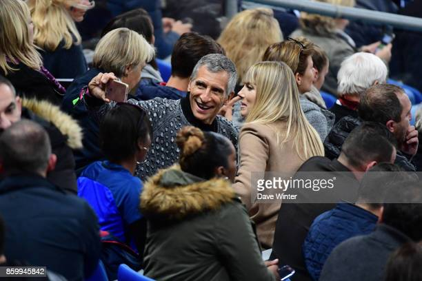 French tv presenter Nagui with his wife Melanie Page during the Fifa 2018 World Cup qualifying match between France and Belarus on October 10 2017 in...