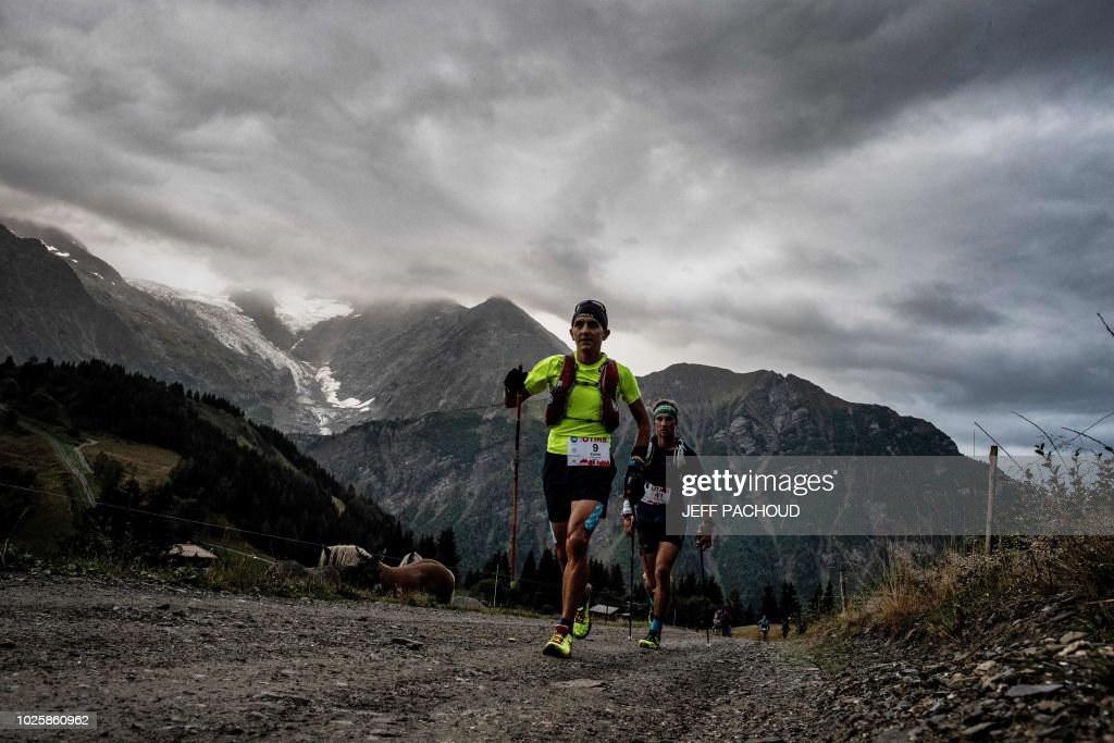 French ultra trailer Xavier Thevenard runs at the Voza path as he ...