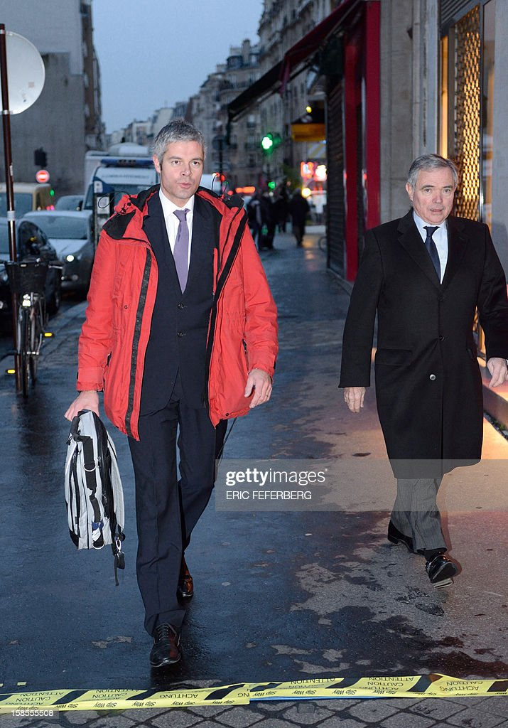 French UMP opposition right-wing party members Laurent Wauquiez (L) and Bernard Accoyer arrives to attend a meeting of the UMP political committee, at the party headquarters on December 19, 2012 in Paris. UMP President Jean-Francois Cope and former Prime Minister Francois Fillon, the rivals in the leadership row which split French former ruling party, the UMP, agreed on December 17, 2012 to a new internal election after a bitterly-contested first vote last month. Kosciusko-Morizet launched on November 14, 2012, her movement 'La France droite' (France right).