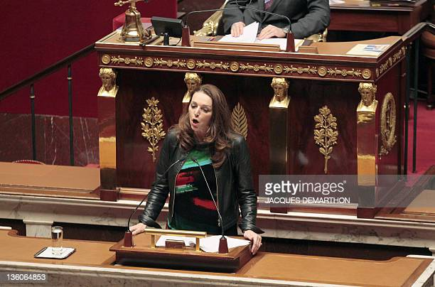 French UMP rightwing ruling party MP for the BouchesduRhône region Valerie Boyer who authored Armenian Genocide denial bill delivers a speech at the...