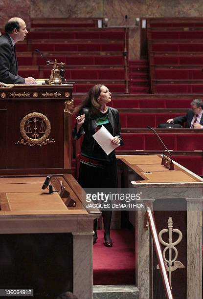 French UMP rightwing ruling party MP for the BouchesduRhône region Valerie Boyer who authored Armenian Genocide denial bill arrives prior delivering...