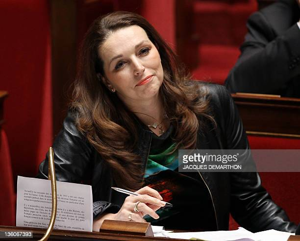 French UMP rightwing ruling party MP for the BouchesduRhône Valerie Boyer who authored Armenian Genocide denial bill smiles at the French National...