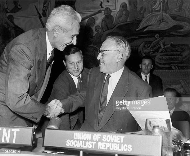 French Un Delegate Armand Berard Shaking Hand With The Soviet Emissary Valerian Zorin Current President Of The Un Council Of Security On November 6...