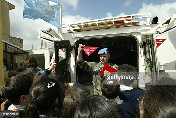 French UN peacekeepers launch an awareness program for Lebanese school children on the dangers of landmines in the southern Lebanese village of Yarun...