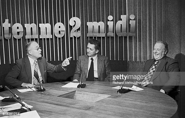French union leaders Andre Bergeron Edmond Maire and Georges Seguy debate on the French television station Antenne 2 The men all served as General...