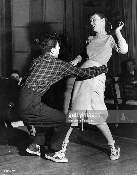 French university students dance the jitterbug in Paris.