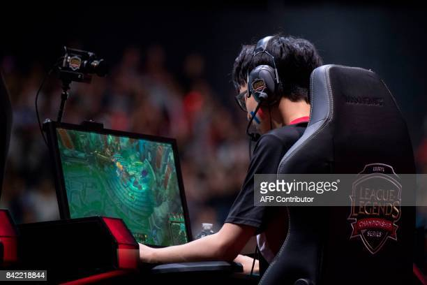 French video game player Hans Sama from the team Misfits Gaming competes in final of the 'LCS' the first European division of the video game 'League...