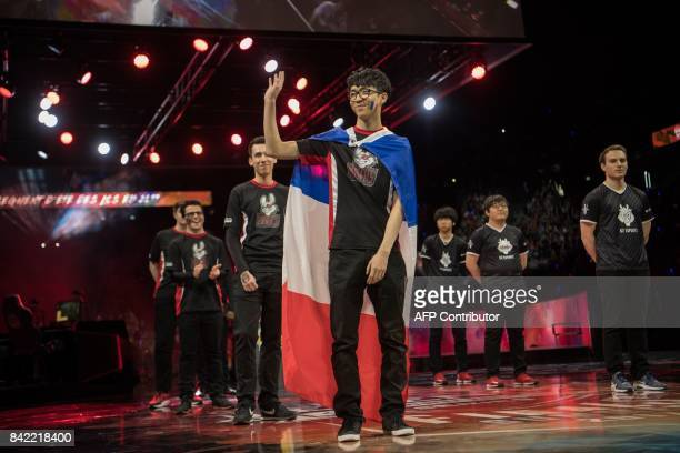 French video game player Hans Sama from the team Misfits Gaming waves to the public before competing in final of the 'LCS' the first European...