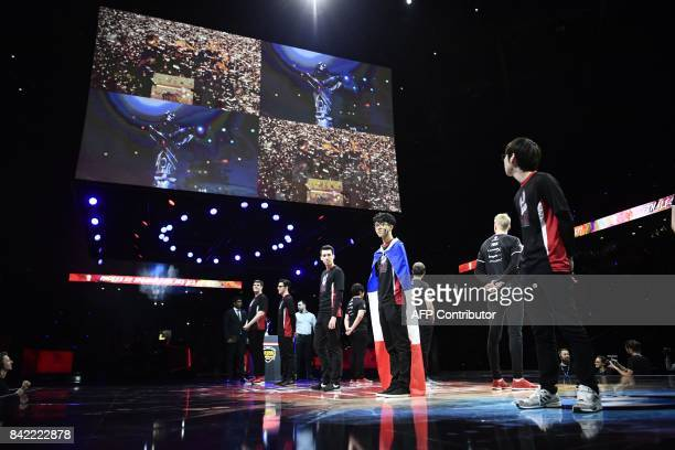 French video game player Hans Sama stands with teammates from Misfits Gaming before competing in final of the 'LCS' the first European division of...
