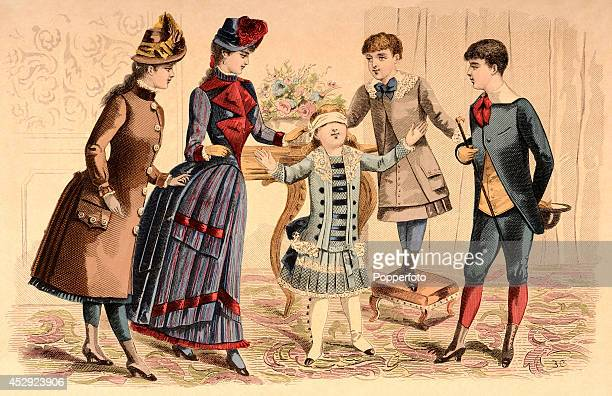 A French vintage fashion illustration featuring a stylish lady and her young family two boys and two girls playing parlour games in an ornate...
