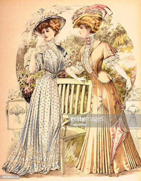 A French vintage fashion illustration featuring two stylish ladies beside a park bench in a garden published in Paris circa August 1907 The backs of...