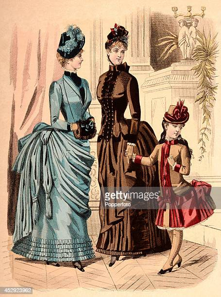 A French vintage fashion illustration featuring two stylish ladies and a young girl wearing day dresses in an opulent interior published in Paris...