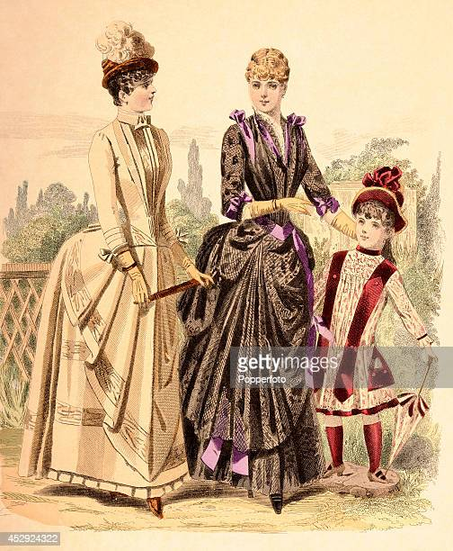 A French vintage fashion illustration featuring two stylish ladies and a young girl wearing day dresses in a parkland setting published in Paris...