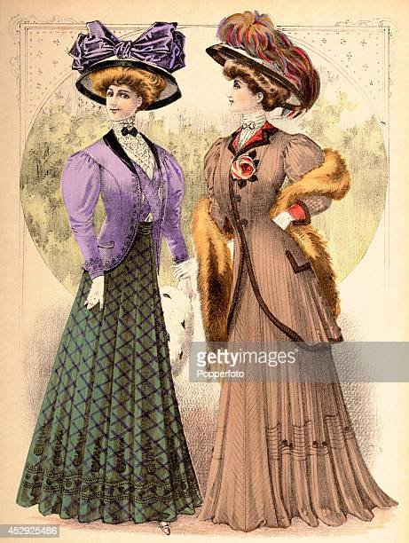 A French vintage fashion illustration featuring two stylish ladies wearing day dresses and ornate hats with greenery beyond published in Paris circa...