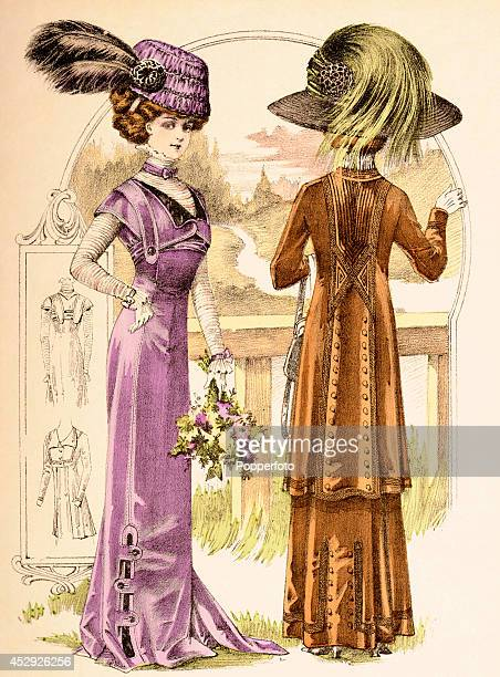 A French vintage fashion illustration featuring two stylish ladies wearing day dresses and plumed hats in a country setting published in Paris circa...