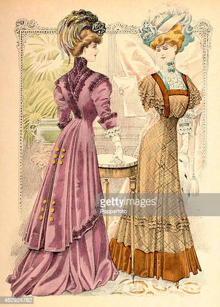 A French vintage fashion illustration featuring two stylish ladies one reading a letter wearing day dresses in an ornate interior published in Paris...