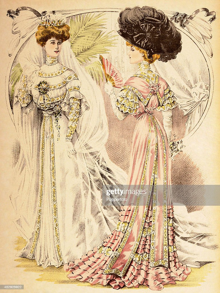 A French Vintage Fashion Illustration Featuring Two Stylish Ladies One Bride And The Other