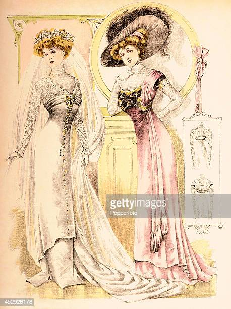 A French vintage fashion illustration featuring two stylish ladies one a bride and the other perhaps her mother published in Paris circa February...