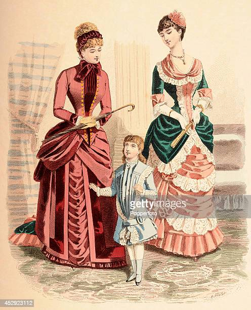 A French vintage fashion illustration featuring two stylish ladies with a young girl wearing day dresses in a comfortable interior published in Paris...