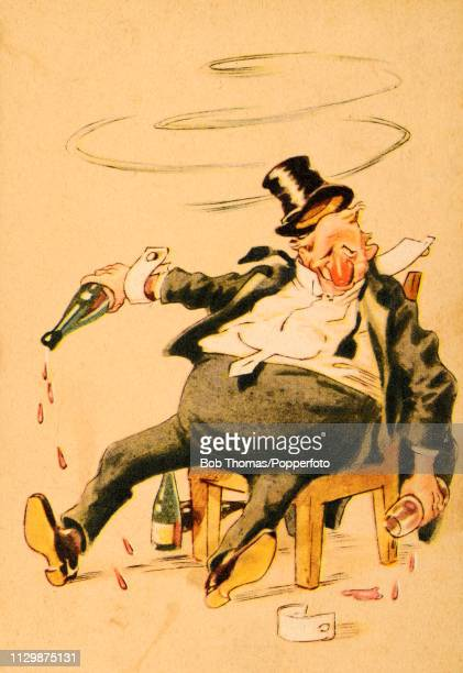 A French vintage illustration featuring a formally dressed gentleman with a bulbous red nose in sartorial disarray surrounded by and holding empty...