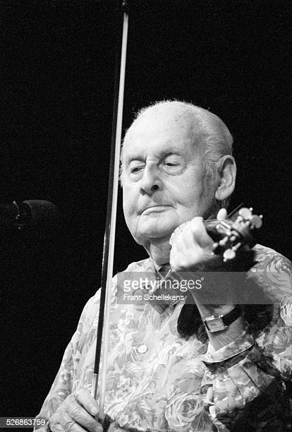 French violin player Stephane Grappelli performs on July 11th 1993 at the North Sea Jazz Festival in the Hague, Netherlands.