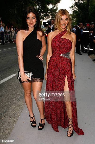 French Vogue Editor-in-Chief Carine Roitfeld with her daughter Julia Restoin-Roitfeld arrive at amfAR's Cinema Against AIDS 2008 benefit held at Le...