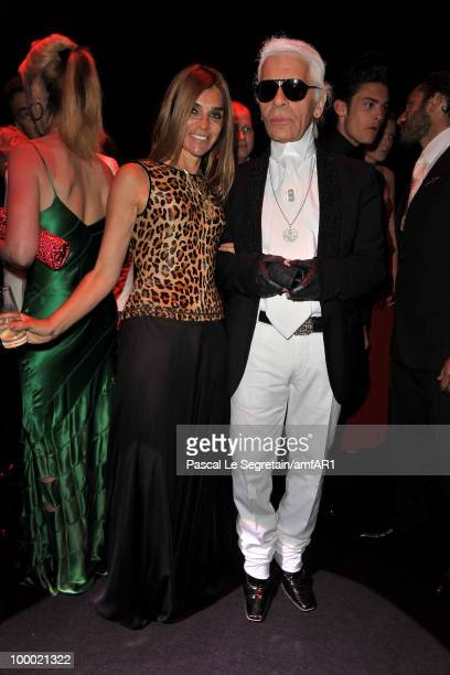 French Vogue's editor in chief Corine Roitfeld and Karl Lagerfeld arrive at amfAR's Cinema Against AIDS 2010 benefit gala at the Hotel du Cap on May...