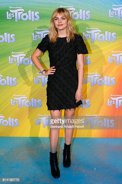 """French voice of the movie, Louane Emera attends """"Les Trolls"""" Paris Premiere at Le Grand Rex on October 12, 2016 in Paris, France."""