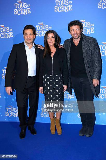 French voices of the movie imitator Laurent Gerra singer Jenifer Bartoli and singer Patrick Bruel attend the Tous en Scene Paris Premiere at Le Grand...