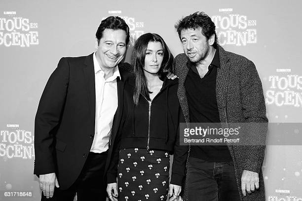 French voices of the movie imitator Laurent Gerra singer Jenifer Bartoli and singer Patrick Bruel attend the 'Tous en Scene' Paris Premiere at Le...
