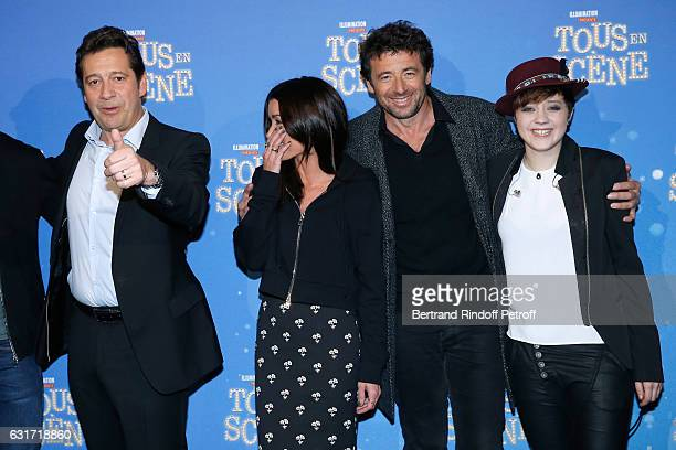 French voices of the movie imitator Laurent Gerra singer Jenifer Bartoli singer Patrick Bruel and actress Elodie Martelet attend the 'Tous en Scene'...
