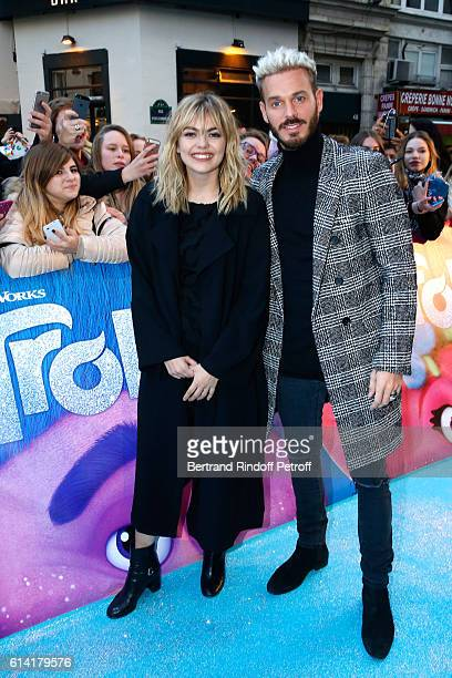 French voices of the movie Louane Emera and Matt Pokora attend 'Les Trolls' Paris Premiere at Le Grand Rex on October 12 2016 in Paris France