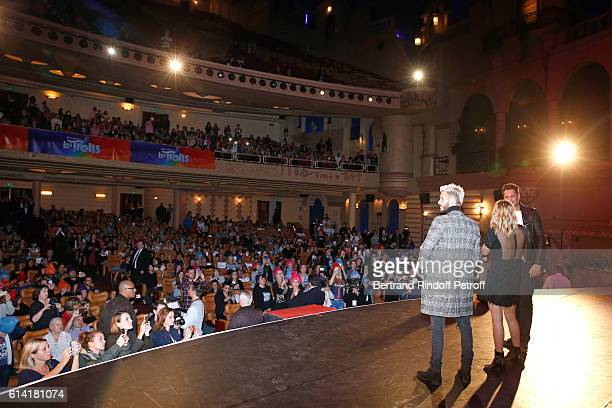 """French voices of the movie, Matt Pokora and Louane Emera with Vincent Cerutti present """"Les Trolls"""" Paris Premiere at Le Grand Rex on October 12, 2016..."""
