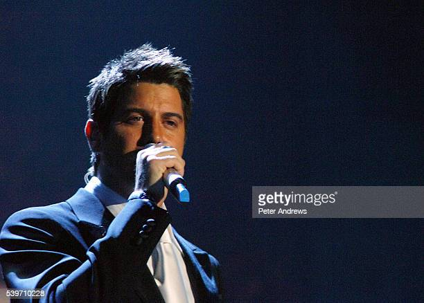 French Vox Populi Sebastien Izambard of opera group 'Il Divo' performs live on stage at the Wembley Arena