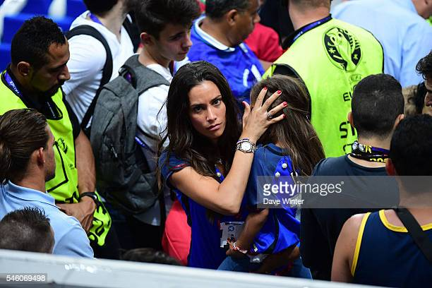 A French WAG during the European Championship Final between Portugal and France at Stade de France on July 10 2016 in Paris France
