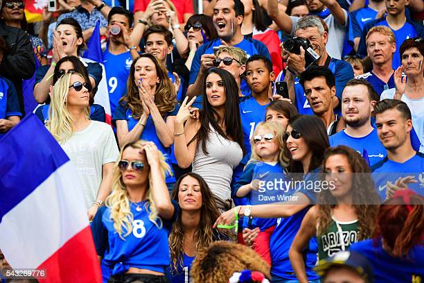 French WAGS including centre left Sandra Evra Claire Koscielny Ludivine Sagna Ludivine Payet Camille Sold Jennifer Giroud and Tiziri Digne during the...