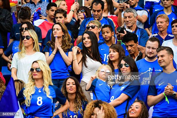 French WAGS including centre left Sandra Evra Claire Koscielny Ludivine Sagna Ludivine Payet Camille Sold and Jennifer Giroud during the European...
