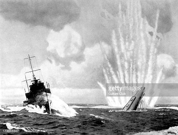 French warship 'Sirocco' sinking German U-Boat, 24 November 1930. French destroyer sank two submarines. From British 'Epic Series' Postcards, No. 8....