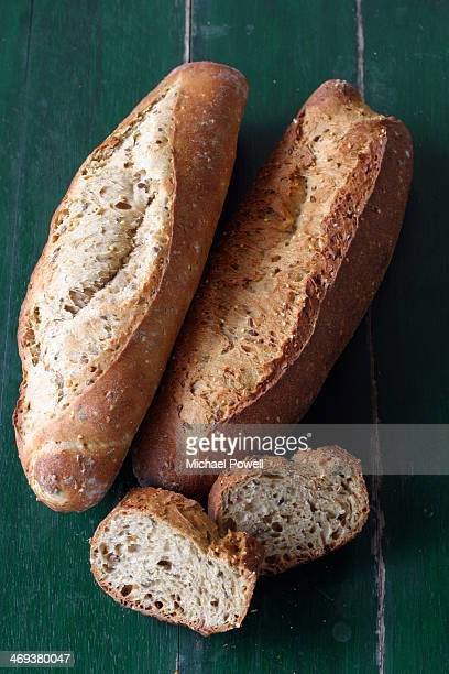 French wholemeal bread on a rustic table.