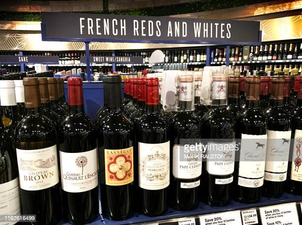 French wines are dislpayed for sale at a supermarket in Los Angeles California on August 18 2019 President Donald Trump has floated the idea of a...