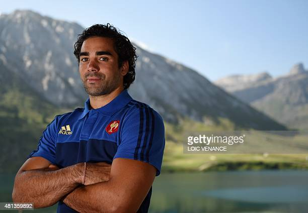 French winger Yoann Huget poses during a Rugby Union World Cup 2015 training camp on July 20, 2015 in Tignes, French Alps. AFP PHOTO / LOIC VENANCE