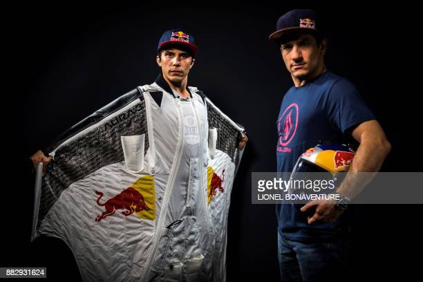 French wingsuit jumpers Fred Fugen and Vince Reffet also known as the 'Soul Flyers' pose during a photo session on November 28 2017 in Paris Having...
