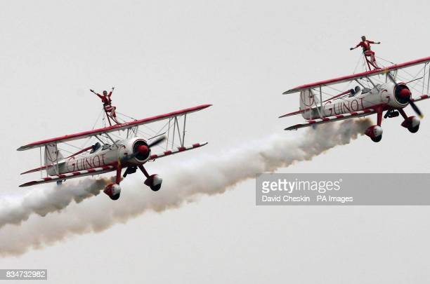 French Wingwalking display team Guinot perform at the Scottish National Museum of Flight East Fortune near Edinburgh