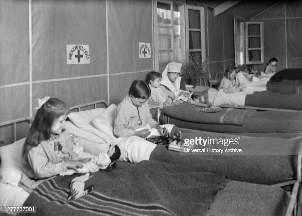 French Woman at an American Red Cross Civilian Hospital under Ether for Appendicitis France Lewis Wickes Hine American National Red Cross Photograph...