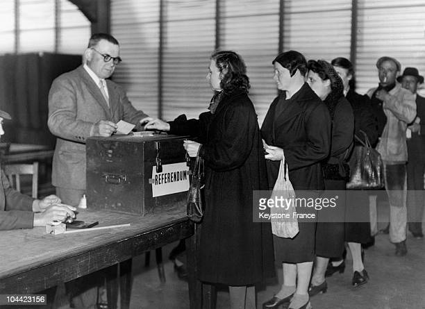French Women Voting During The Referendum On The Constitution Project On May 5 1946 It Was Voted Down By 5282% French Women Voted For The 1St Time On...